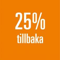 25% tillbaka